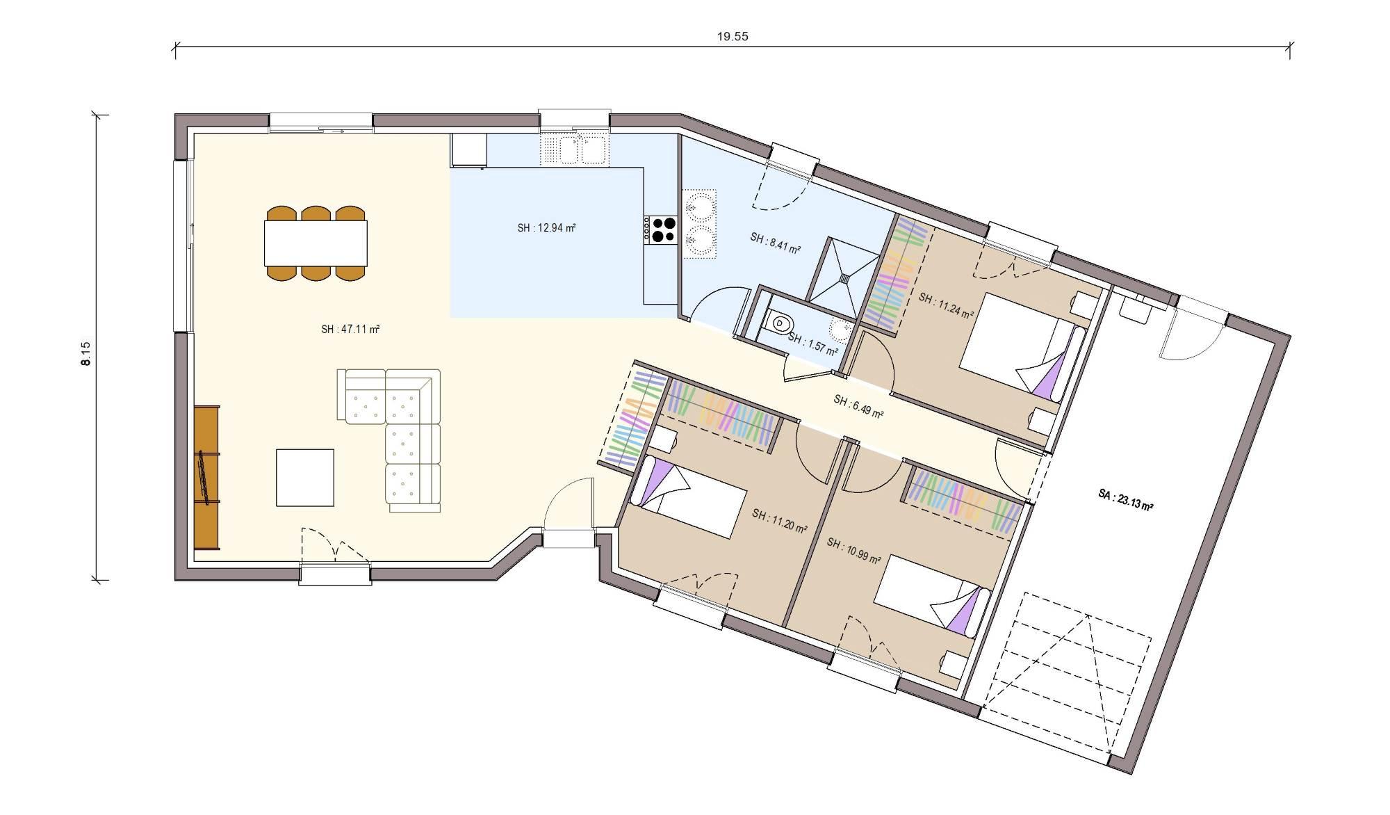 Plan Maison 110m2 Plein Pied En L | Ventana Blog