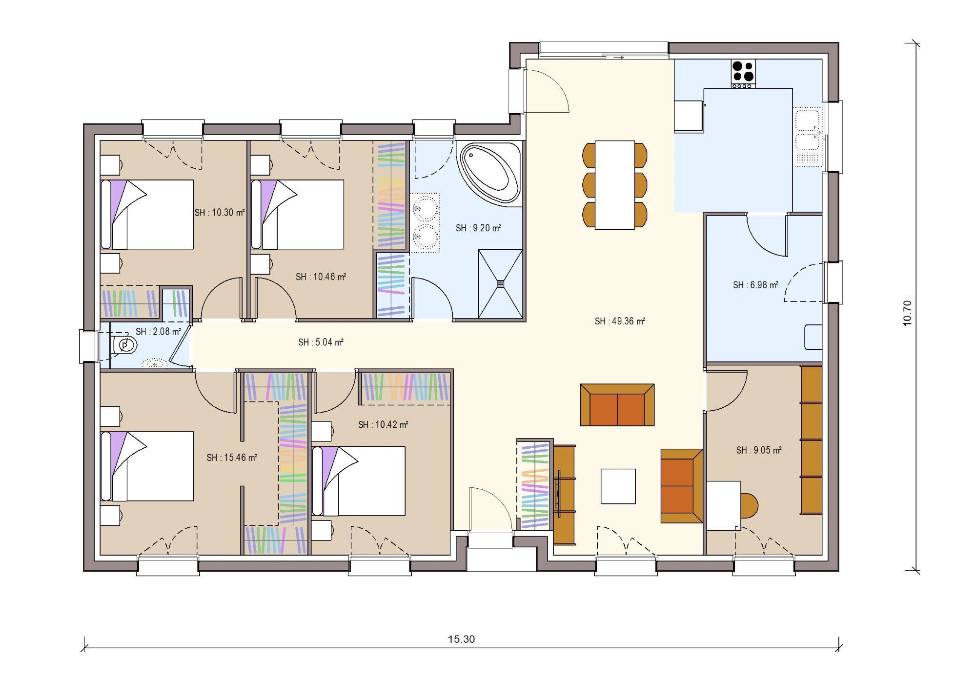 Plan Maison 4 Chambres Montceau Les Mines 128 M2 Fdconstructions