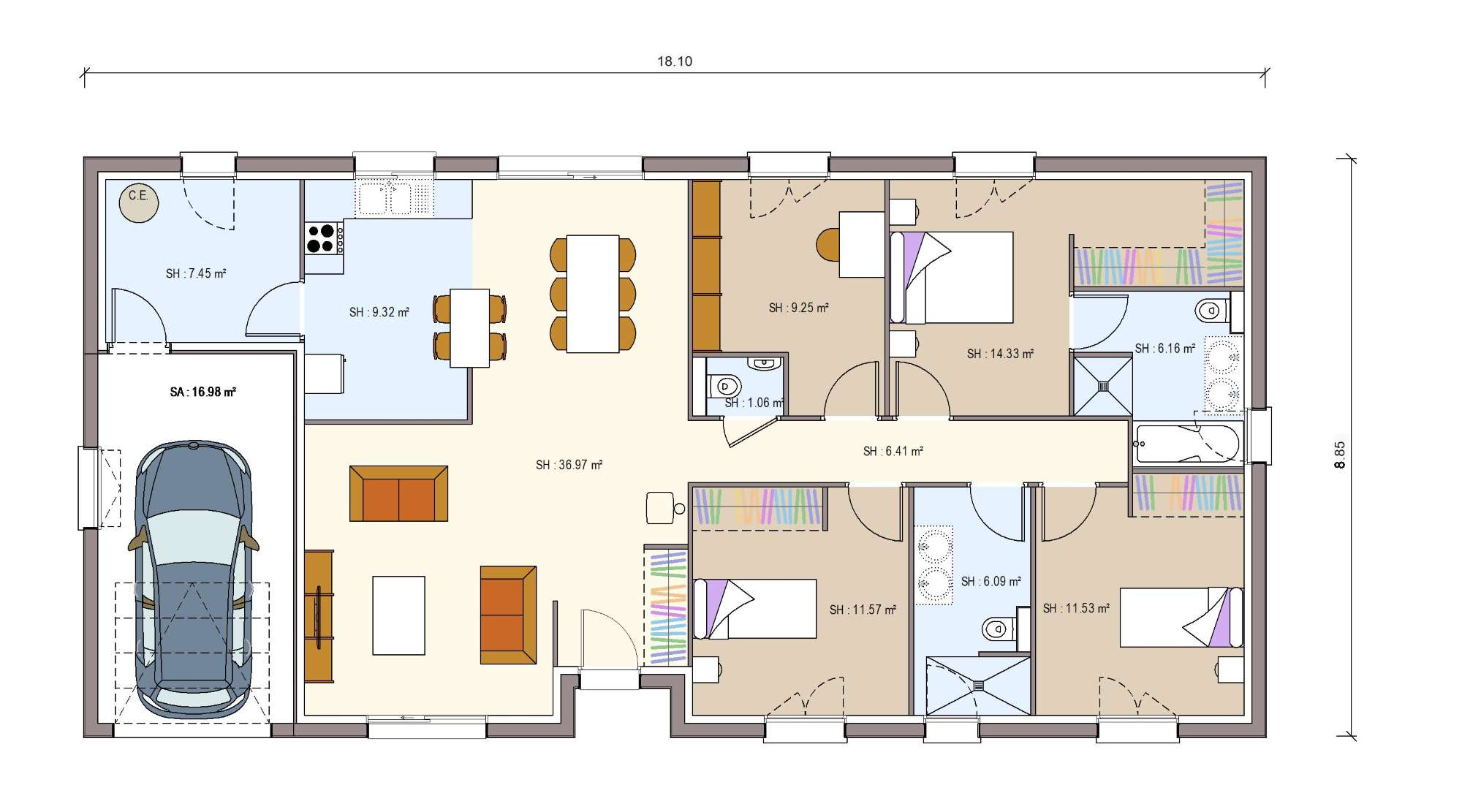 Plan Plain Pied 4 Pans Antully 120 M2 Fdconstructions